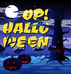 Scary tree with text Op Halloween vector