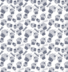 Seamless pattern with blue cupcake vector image vector image