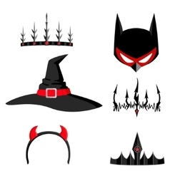 Set of halloween headdresses vector image