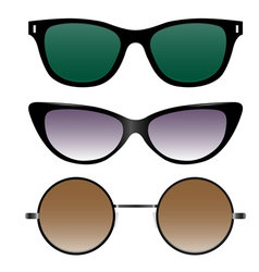 Set of sunglasses in retro style vector