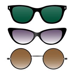 Set sunglasses in retro style vector