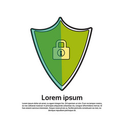 shield with lock icon online protection and vector image