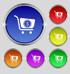 shopping cart icon sign Round symbol on bright vector image