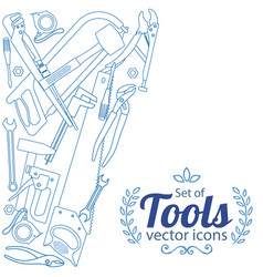 side vertical border with repair tools icons vector image