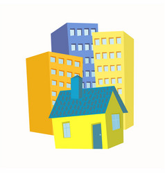 small house in the background high-rise buildings vector image
