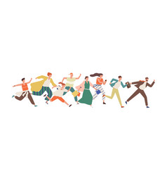 smiling people different ages running together vector image
