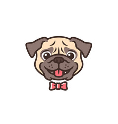 smiling pug dog smile cartoon logo mascot vector image