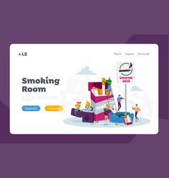 Smokers in smoking area landing page template vector