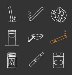 Smoking chalk icons set vector