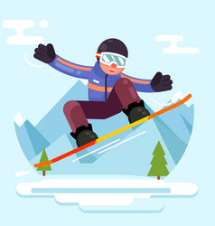 snowboard skate geek hipster character winter vector image