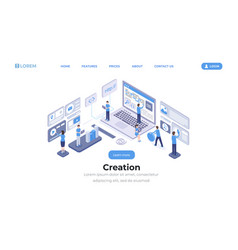 software creation landing page isometric template vector image