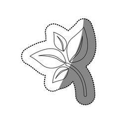 sticker silhouette branch with leaves icon flat vector image