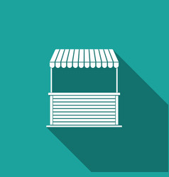 street stall with awning and wooden rack icon vector image