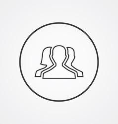 Team outline symbol dark on white background logo vector