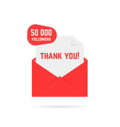 thank you for 50000 followers text in red letter vector image