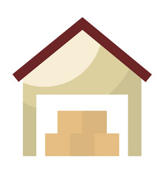 warehouse building with boxes vector image
