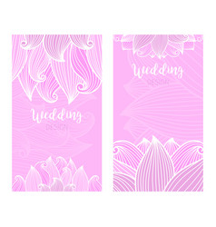 Wedding vertical pink flyers with waves vector
