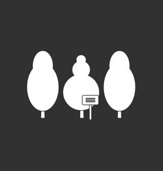 White icon on black background save the trees vector