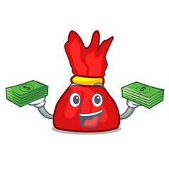 With money bag wrapper candy mascot cartoon vector