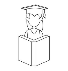woman student graduated with book vector image