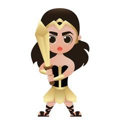 Woman warrior cute cartoon character vector