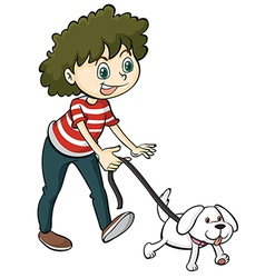 A smiling boy and a dog vector image vector image