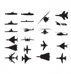 army vehicle silhouettes vector image vector image