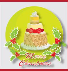 christmas cake with butchers broom vector image