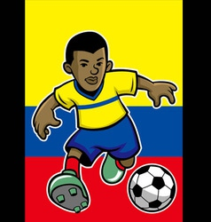Ecuador soccer player with flag background vector image vector image
