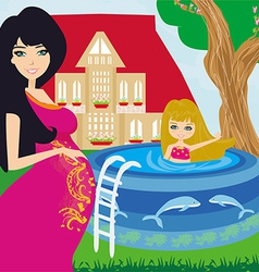 little girl in outdoor pool and her young pregnant vector image vector image