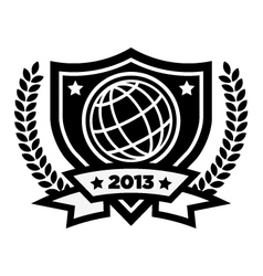 World globe logo emblem vector