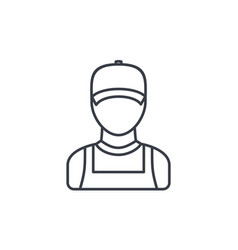 delivery man in red uniform thin line icon linear vector image