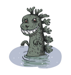 dinosaur emerges from the water vector image