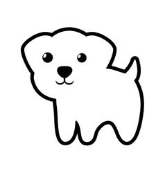 Dog little portrait lovely outline vector