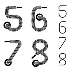 shoe lace numbers 5 6 7 8 vector image vector image