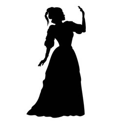 Silhouette woman in a ball gown vector image