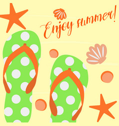 summer background with slippers on sand and shells vector image vector image