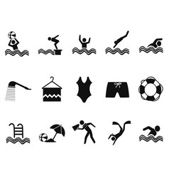 black water pool icons set vector image vector image