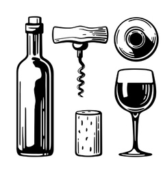Bottle glass corkscrew cork side and top view vector