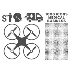Copter Icon with 1000 Medical Business Pictograms vector image vector image