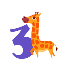 Funny cute giraffe animal and number three vector