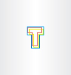 letter t colorful icon logo logotype symbol vector image vector image