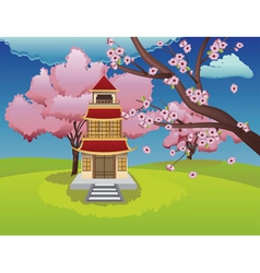 Oriental House and Blooming Sakura vector image
