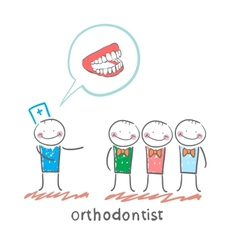 orthodontist says with patients about their teeth vector image vector image