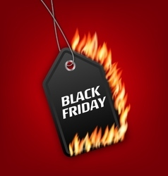 Sale Discount with Fire Flame for Black Friday vector image vector image