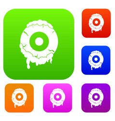Scary eyeball set color collection vector