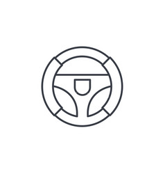 steering wheel thin line icon linear vector image