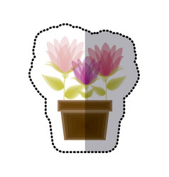 Sticker faded spring flower collection in pot vector