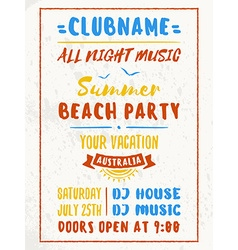 Beach Party Flyer or Poster Night Club Event vector image vector image
