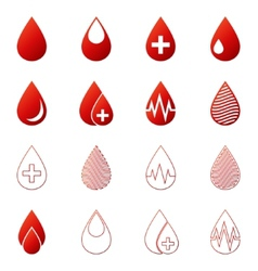 Blood drop icons set vector image